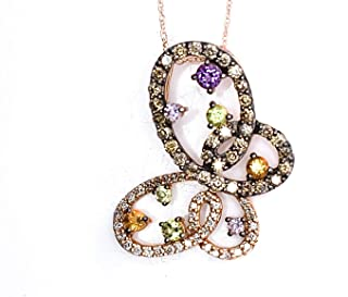 LeVian Butterfly Pendant Chocolate and Vanilla Diamonds Amethyst Citrine Peridot 1.27 cttw Necklace 14k Rose Gold