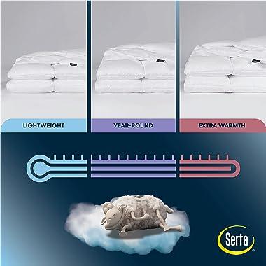 SERTA Down Illusion Hypoallergenic All Season Down Alternative Comforter with Corner Loops, King/Cal King, White, 1 Piece