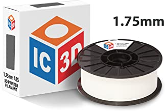 IC3D White 1.75mm ABS 3D Printer Filament - 1kg Spool - Dimensional Accuracy +/- 0.05mm - Professional Grade 3D Printing Filament - Made in USA
