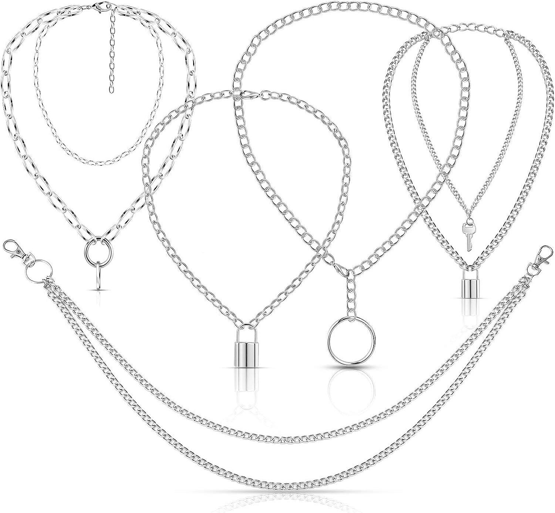 5 Pieces Punk Chain Choker Jeans Wallet Chain Lock Pendant Multilayer Necklace