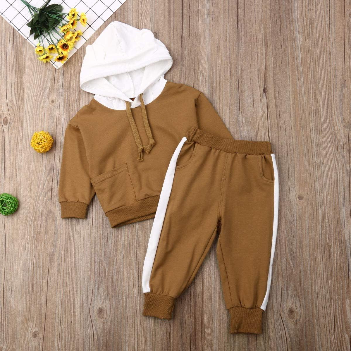 Geagodelia Lot de 2 bodies mignons sweat-shirts /à capuche pantalon automne//hiver manches l/éopard
