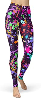 Women's Artistic Splash Printed 80s Leggings Christmas Brushed Buttery Soft Pants Regular and Plus Size