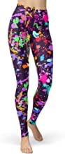 sissycos Women's Artistic Splash Printed 80s Leggings Christmas Brushed Buttery Soft Pants Regular and Plus Size