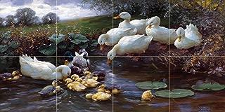 Family of Ducks at The Water by Alexander Koester Tile Mural Kitchen Bathroom Wall Backsplash Behind Stove Range Sink Splashback 4x2 4