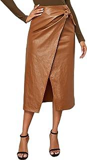 SweatyRocks Women's Elegant High Waist Knot Side Wrap PU Leather Midi Skirt