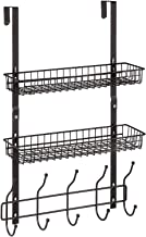 Over The Door Hooks Bathroom Rack Wall Mounted Coat Rack Metal Storage Rack with 2 Baskets & 5 Hooks for Hanging Clothes, ...