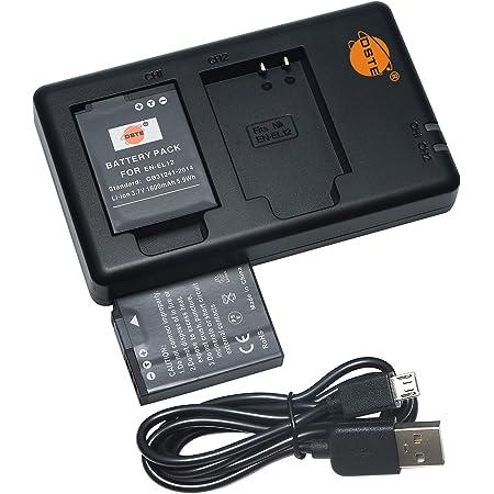 互換バッテリー DSTE EN-EL12 バッテリーパック 2個(大容量 1600mAh/3.7V) + 充電器 セットUSB 急速充電 Nikon Coolpix P300, P310, P330, P340, S31, S70, S610, S800c, S6000, S6100, S6150, S6200, S6300, S8000, S9050, S9500, S9600, AW100, AW100s, AW110, AW110s, AW120s に対応