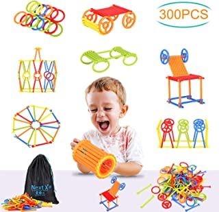 NextX Stem Building Toy 300 Pieces Preschool Straw Constructor for Boys and Girls Ages 3 and More Year Old Enginnering and Educational Game