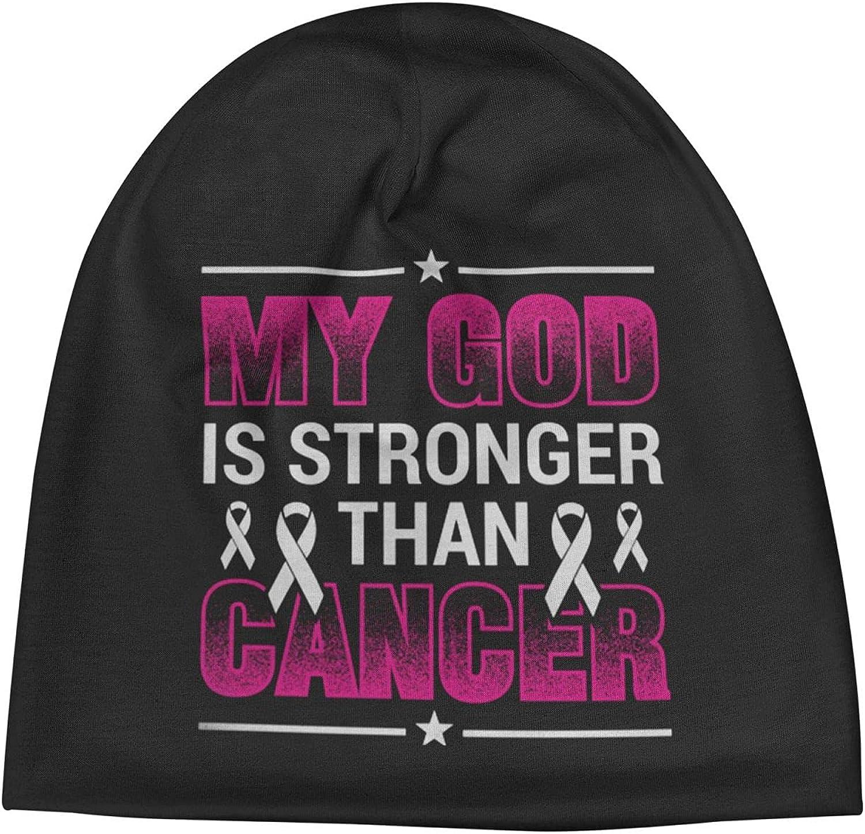My God is Dallas Mall Stronger Than Cancer Overseas parallel import regular item Unisex Hat Beanie Cap Warm Slogan