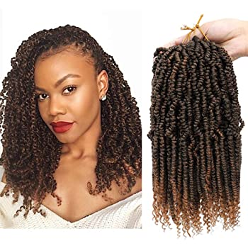 Bomb Twist Crochet Hair Mini Passion Twist Hair 12 Inch 4Packs Fluffy Spring Twist Hair Ombre Synthetic Hair Extensions (12inch (Pack of 4), T30)
