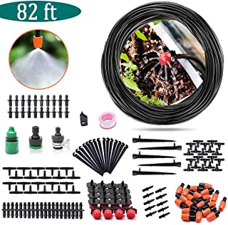 AGTLLC 82ft/25m Drip Irrigation System Kit Drip Sprinkler Irrigation Kits Saving Water and Time Adjustable Micro Garden Plant Watering Set with 1/4
