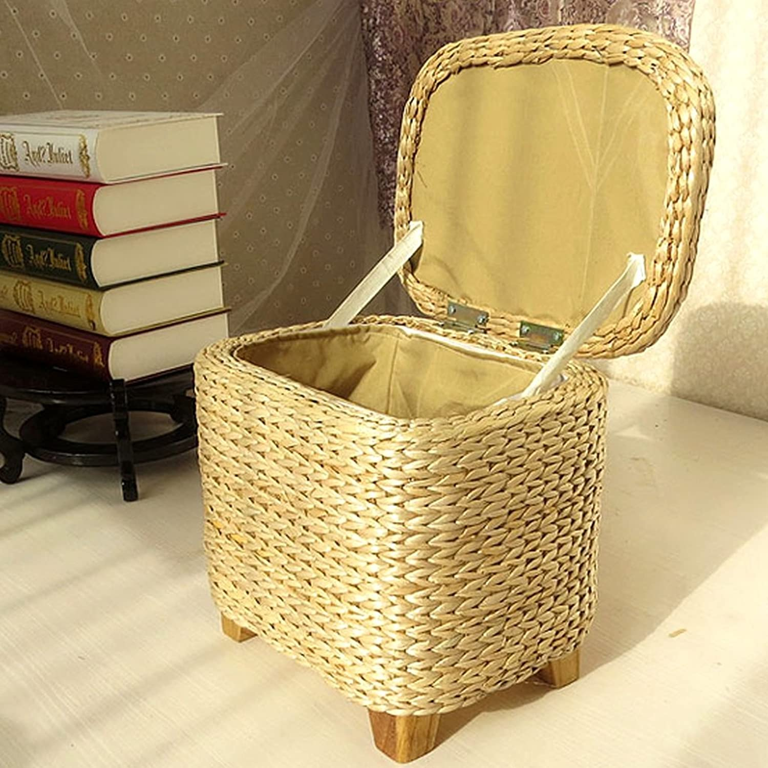 Storage Stool Storage Stool Solid Wood shoes shoes Stool Storage Stool Sofa Stool Handmade Rattan Grass Preparation Toy Finishing seat Box can sit People