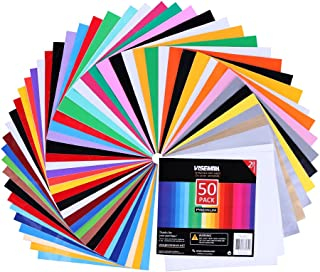 VISEMAN Adhesive Vinyl Sheets - 40 Assorted Colors(Glossy,Matte,Brushed and Metallic) Self Vinyl Craft Paper with 2 Clear Transfer Tap for Cricut and Other Cutters (50 Pack)