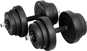 SONGMICS Halters, korte halters, set van 2, voor mannen en vrouwen, fitness, gewichtheffen voor thuis, sportschool, zwart,...