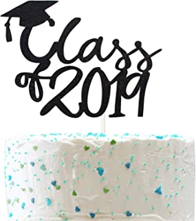 Class 2019 Cake Topper for 2019 Graduation High School Graduation College Grad Party Decorations Supplies (Double Sided Gold Glitter)