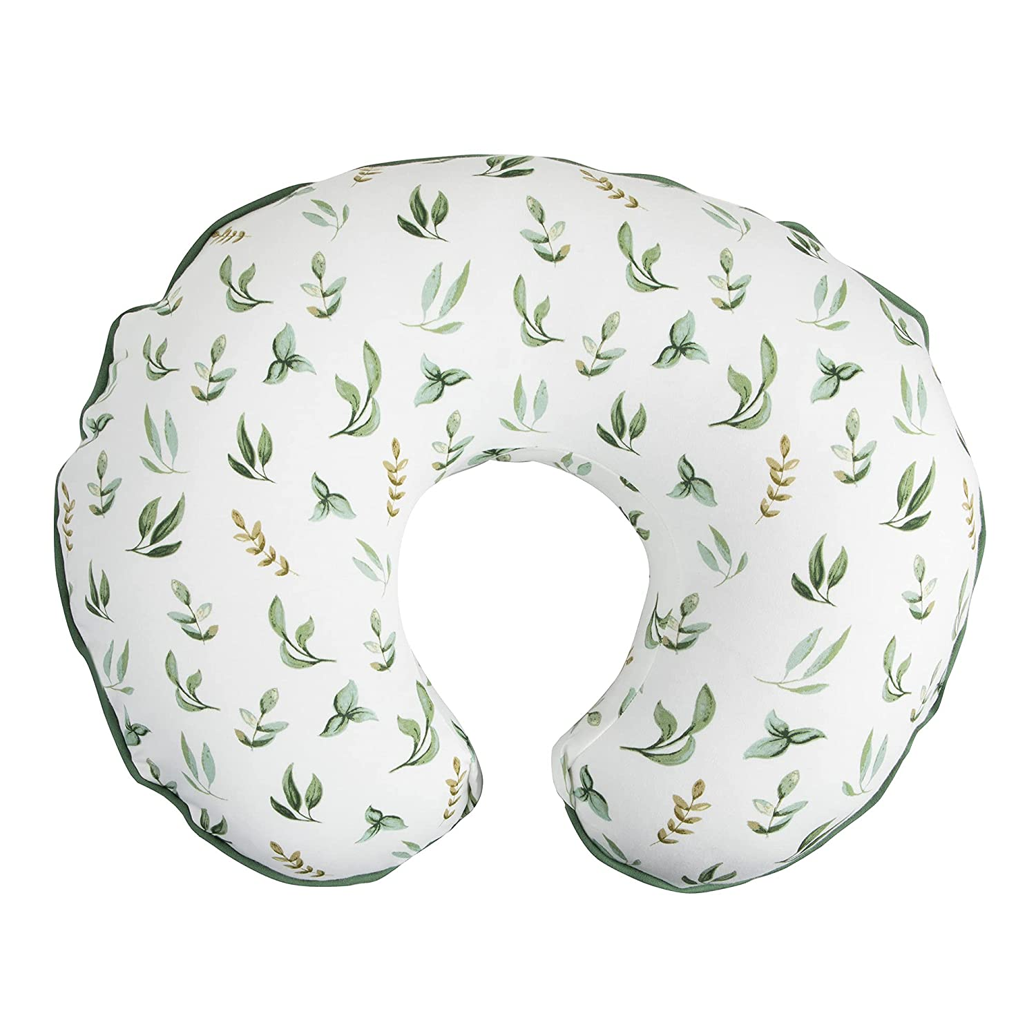 Boppy Nursing Pillow Cover –Organic Fabric   Green Little Leaves Side and Sage Dots Side   Organic Cotton Fabric   Fits Boppy Bare Naked, Original and Luxe Breastfeeding Pillow   Awake Time Only