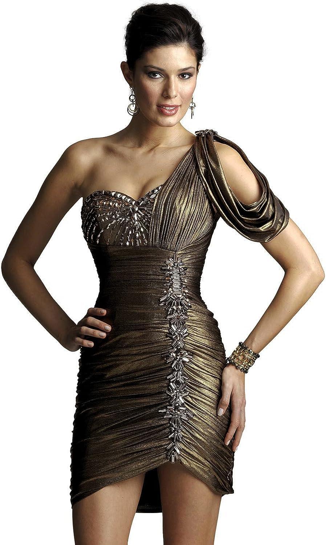 Z&I One Shoulder Short Cocktail Dress z2450, Grecian Gold, 10