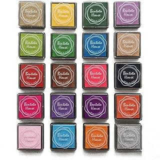 Akak Store Craft Ink Pad Stamps Partner Diy Color,20 Pcs/Set Assorted Color Rainbow Finger Ink pad Rubber Finger Printing Stamp, Paper, Wood Fabric