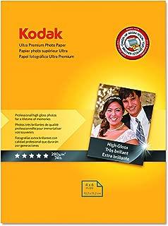 "Kodak Ultra Premium Photo Paper for inkjet printers, Gloss Finish, 10.7 mil thickness, 20 sheets, 4"" x 6"" (8777757)"
