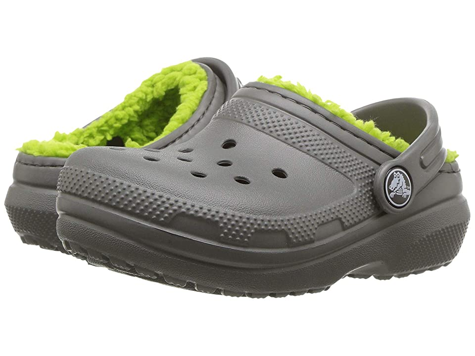 Crocs Kids Classic Lined Clog (Toddler/Little Kid) (Slate Grey/Volt Green) Kids Shoes