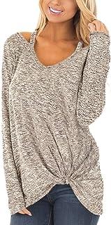 YOINS Donna Maglia Manica Lunga Camicetta Casuale Camicia con Incrociato Frontale Maglietta Asimmetrico T-Shirt Loose Fit ...