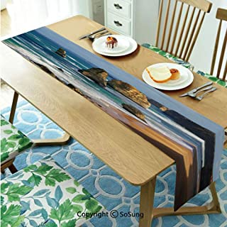 Coastal Decor Table runner for Farmhouse Dining Coffee Table Decorative,12 Apostles in Australia Rock Face Lookout by the Sea Sightseeing Panoramic Picture 16