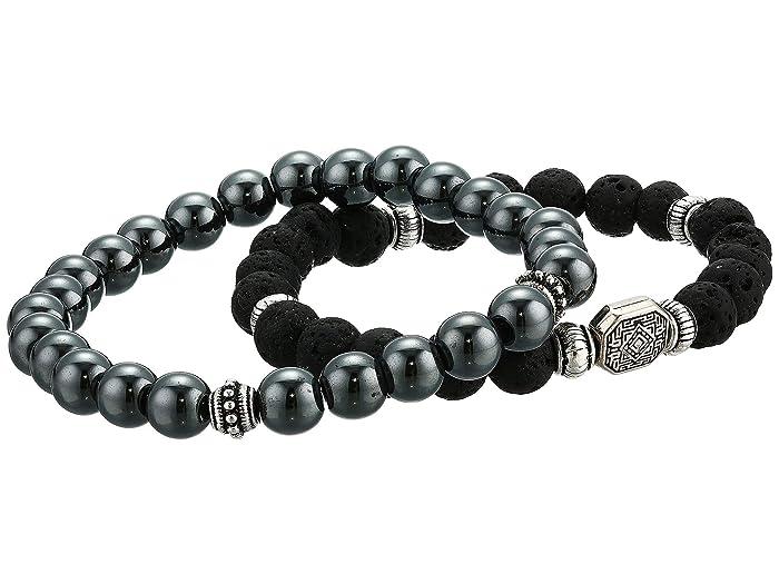 Dee Berkley  Stability Genuine Gemstone Beaded Bracelet Set Of 2 (Black) Bracelet