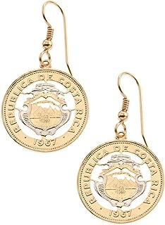Costa Rican Coin Earrings, hand cut Costa Rican Coins, 7/8