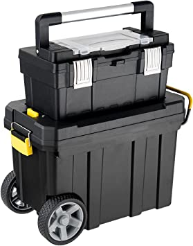 Goplus 2-in-1 Tool Box Portable Rolling Toolbox Storage Solution Multi-Purpose Plastic Organizer Set Mobile Workshop with Wheels: image