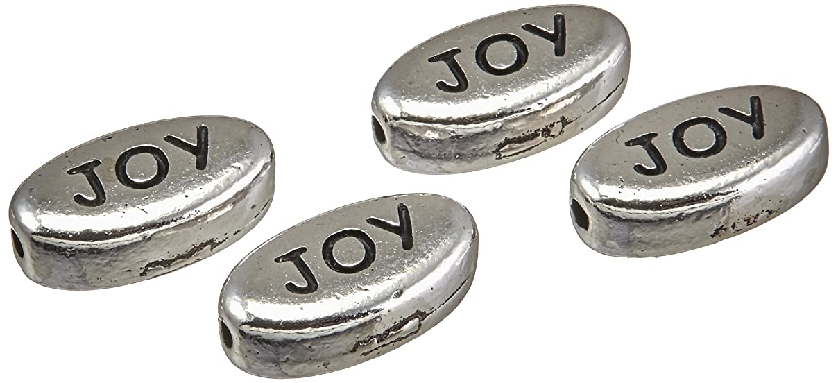 TierraCast Bead Word Joy, 6 x 10.75mm, Antiqued Rhodium Plated Pewter, 4-Pack gj58697477017