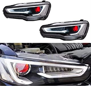 JDMSPEED New Set of LED Headlights Lamps For Mitsubishi Lancer & EVO X 2008-2017 Red Eye DRL