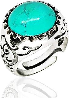 ANELLO in ARGENTO nero 925 con PIETRA TURCHESE tonda, anello GRANDE massiccio,regolabile su misura