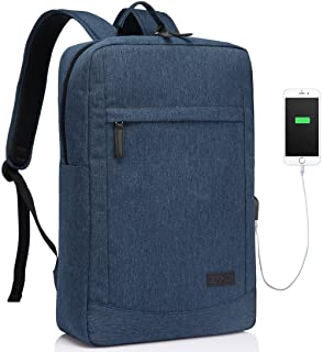 Slim Laptop Backpack,Vaschy Water Resistant Business Computer Bag with Built-in Charging Cable Lightweight Professional Rucksack with Waterproof Rain Cover