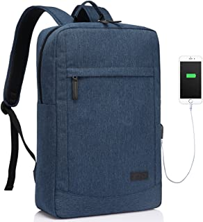 Slim Laptop Backpack,Vaschy Water Resistant Business Computer Bag with Built-in Charging Cable Lightweight Professional Ru...