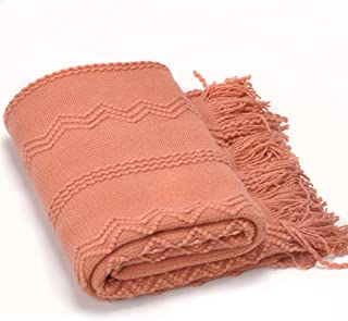 Battilo Intricate Woven Throw Blanket with Raised Patterns and Tasseled End, 50