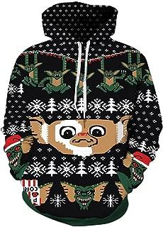 Couple 3D Santa Print Ugly Christmas Kangaroo Pocket Sweatshirt Hoodies Pullover