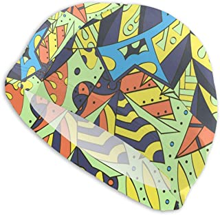 Smany Ethnic Colorful Doodle Texture Adult Swim Caps,High Elasticity, No Deformation Use,UV Protection, Waterproof Comfy Swimming Bathing Cap for Men and Women