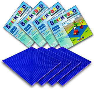 Brickyard Building Blocks 4 Blue Baseplates, Improved Design 10 x 10 Inches Large Thick Base Plates for Building Bricks, for Activity Table or Displaying Compatible Construction Toys (4-Pack, Blue)