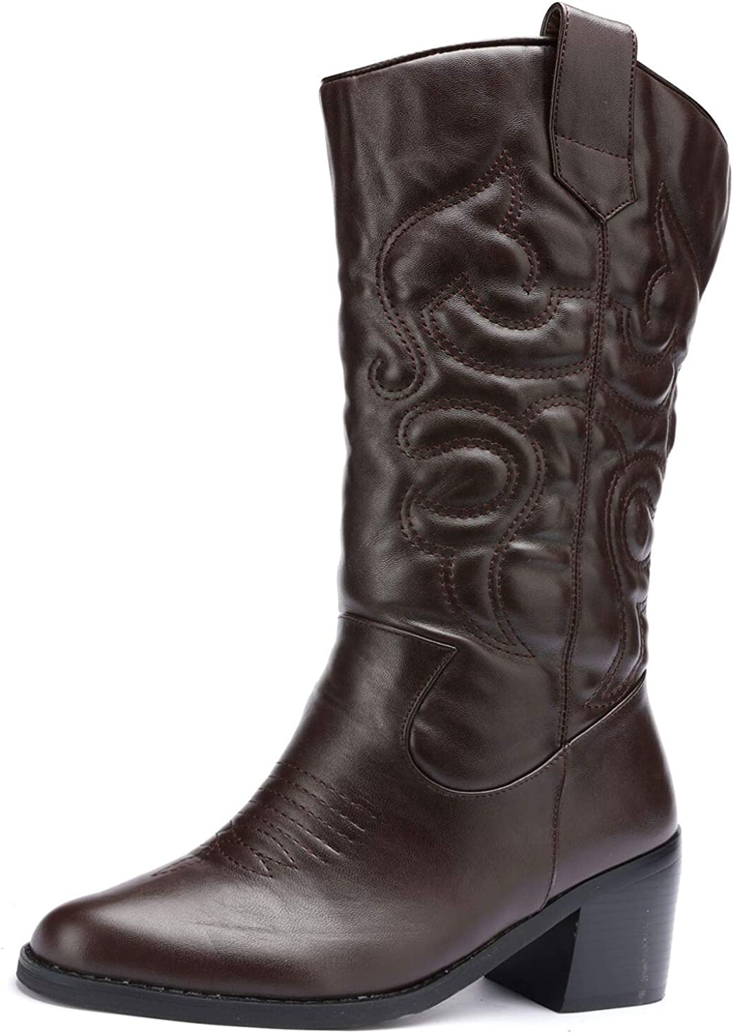 Odema Womens Wide Toe Cowboy Western Tabs Boots Low Heel Pull On Mid Calf Bootie