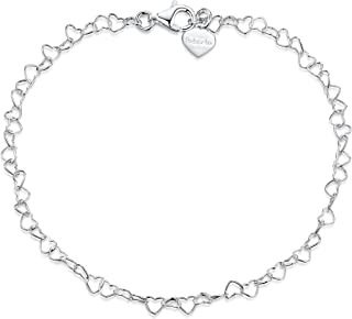 """925 Fine Sterling Silver Naturally Adjustable Anklet - 3 mm Heart Chain Ankle Bracelet - up to 10"""" inch - Flexible Fit"""