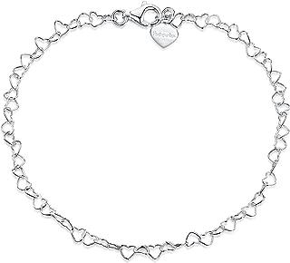 Amberta 925 Sterling Silver 3 mm Heart Chain Bracelet