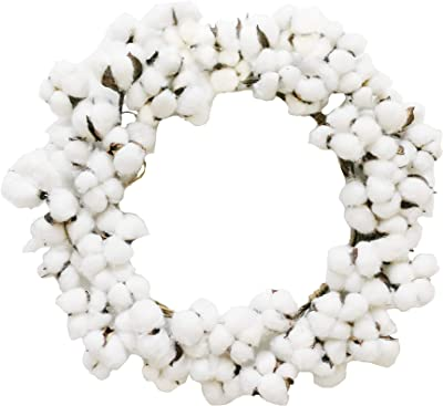 "Xmas Arts& Crafts Cotton Stems Wreath with Full Cotton Bolls for Farmhouse Wreath 16"" for Festival Celebration Front Door Wreath Wall Window Party Decoration"