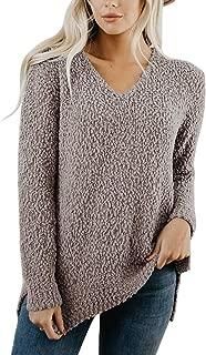 ANRABESS Women Fuzzy Popcorn Knitted Sweater Sherpa Fleece V Neck Side Slit Long Sleeve Pullover Jumper Outwears