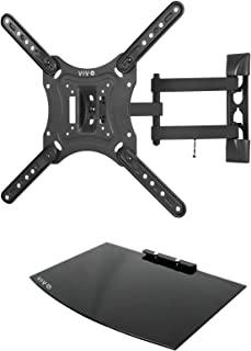 VIVO Black 23 to 55 inch Screen TV Wall Mount with Adjustable Tilt and Entertainment Shelf | Floating AV, DVD Shelving (Mount-VWSF1)
