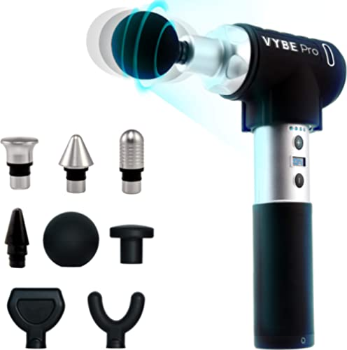VYBE Percussion Massage Gun - Pro Model- Massager for Deep Tissue Muscle - for Pain Relief- 9 Speeds, 8 Attachments, ...