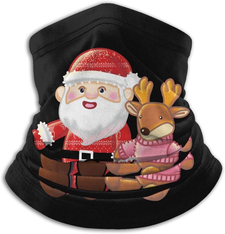 Winter Neck Gaiter Warmer Soft Face Mask Scarf Merry Christmas Cute Santa Outdoor Sports Neck Warmer Headwear for Men Women Black