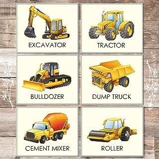 Boys Trucks - Art Prints (Set of 6) - Unframed - 8x10s | Construction Wall Decor