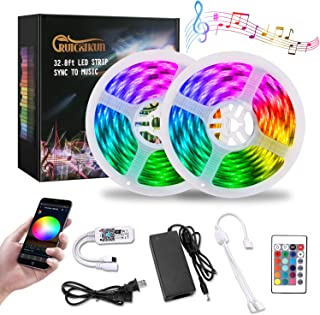 RUICAIKUN Led Strip Lights,32.8ft WiFi Wireless Smart Phone ControlledWaterproof 300Leds SMD5050 Strip Lights Kit with 24key Remote Working with Android and iOS System,Alexa, Google Assistant
