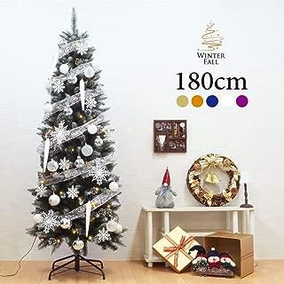 クリスマスツリー おしゃれ 北欧 Winter Fall 180cmドイツトウヒツリーセット LED オーナメント セット(ホワイト)
