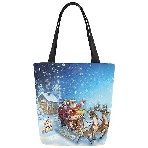 InterestPrint Christmas Santa Clause Canvas Tote Bag Handbag Shoulder Bag for Women Girls